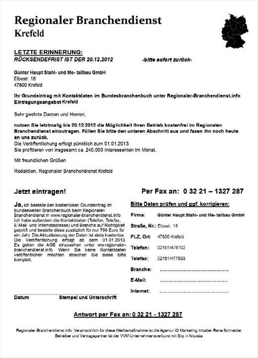Regionaler Branchendienst Spam 002